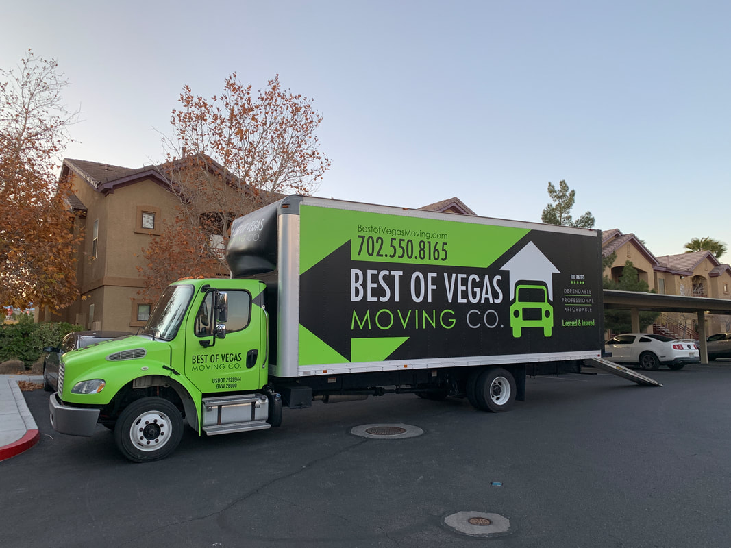 Best Of Vegas Moving Company's moving truck outside a residential area
